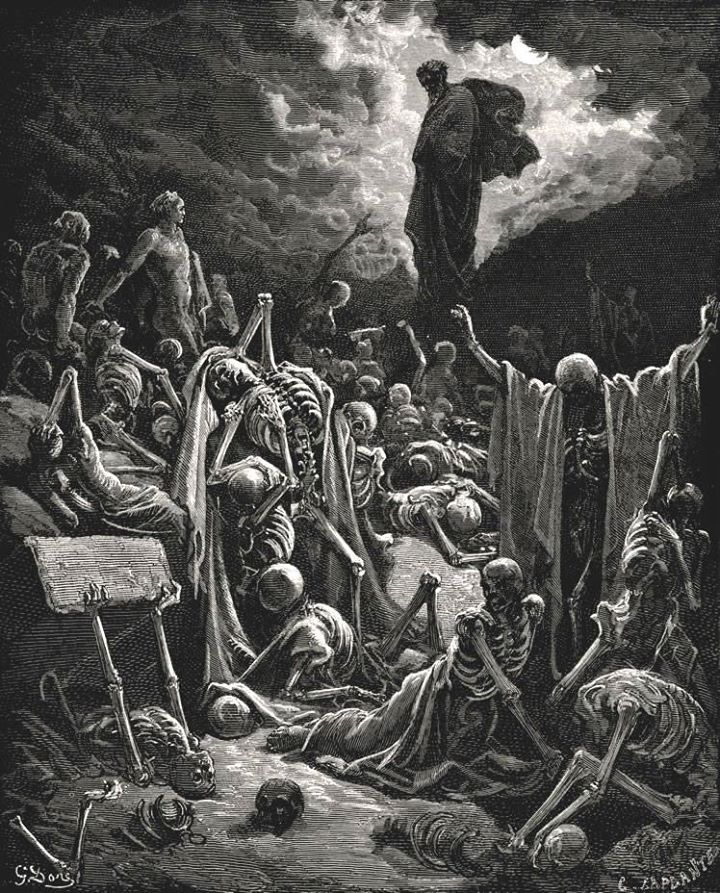 "Gustave Doré engraving ""The Vision of The Valley of The Dry Bones"" – 1866"