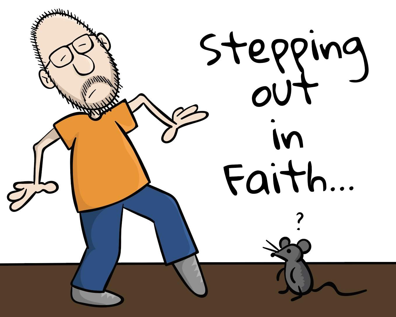 Stepping Out In Faith Cartoon